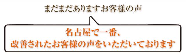名古屋で一番、改善されたお客様の声をいただいております